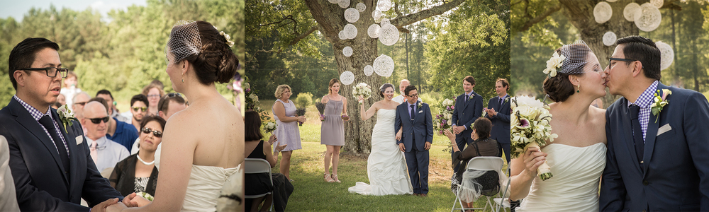 Wedding photography chapel hill nc - Ceremony and kiss