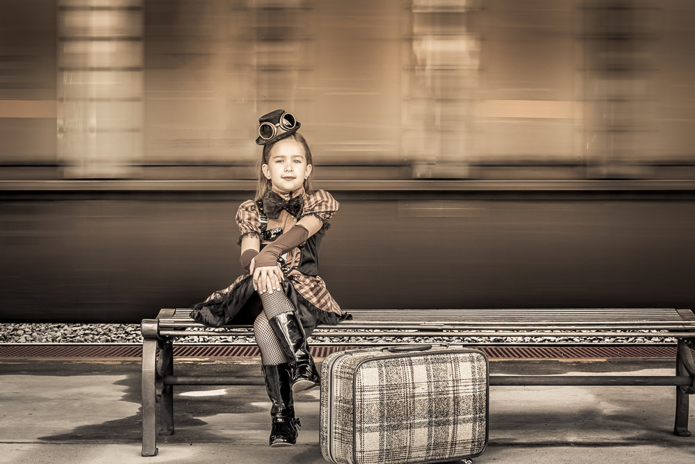 SteamPunk - It's so much fun to photograph kids who love the camera. These images were taken at Rocky Mount Train Station