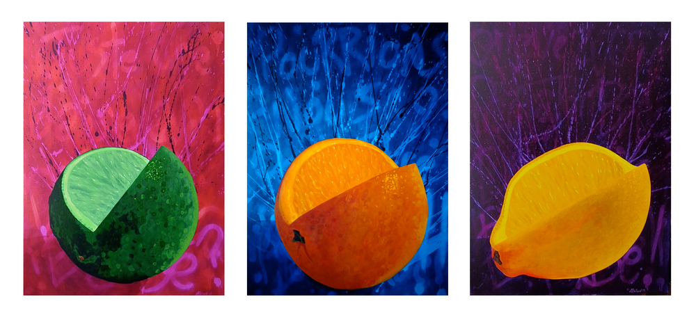 "Fruit Triptych  - acrylic on canvas 30"" x 40"" x 3"