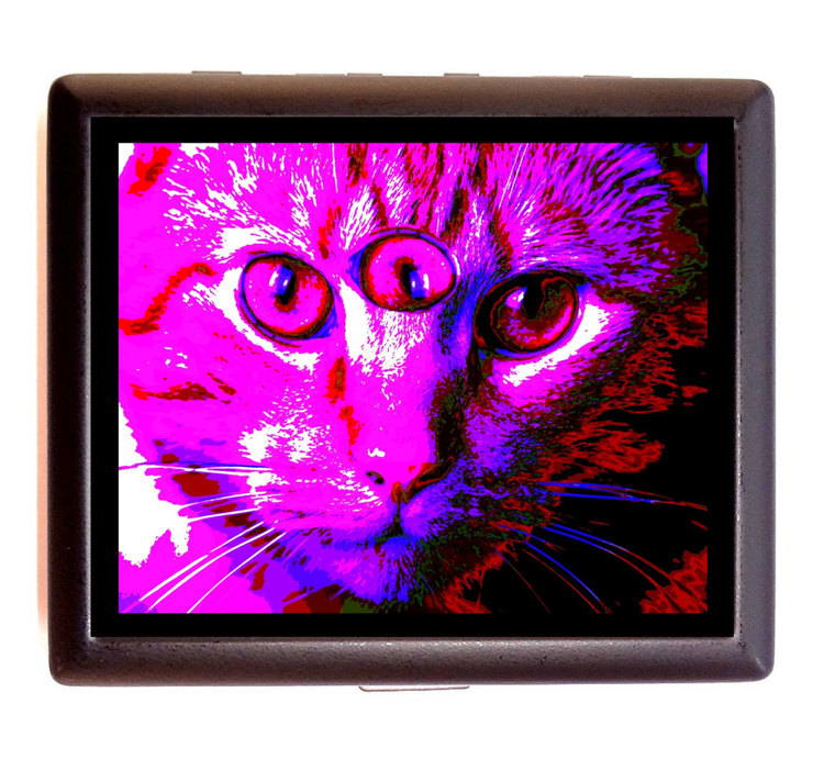 Third Eye Cat Cigarette Id Case Business Card Holder Wallet ...