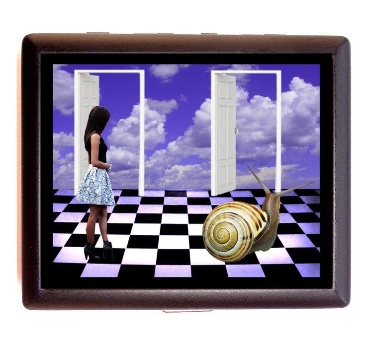 Surreal Snail Girl Cigarette Id Case Business Card Holder Wallet ...