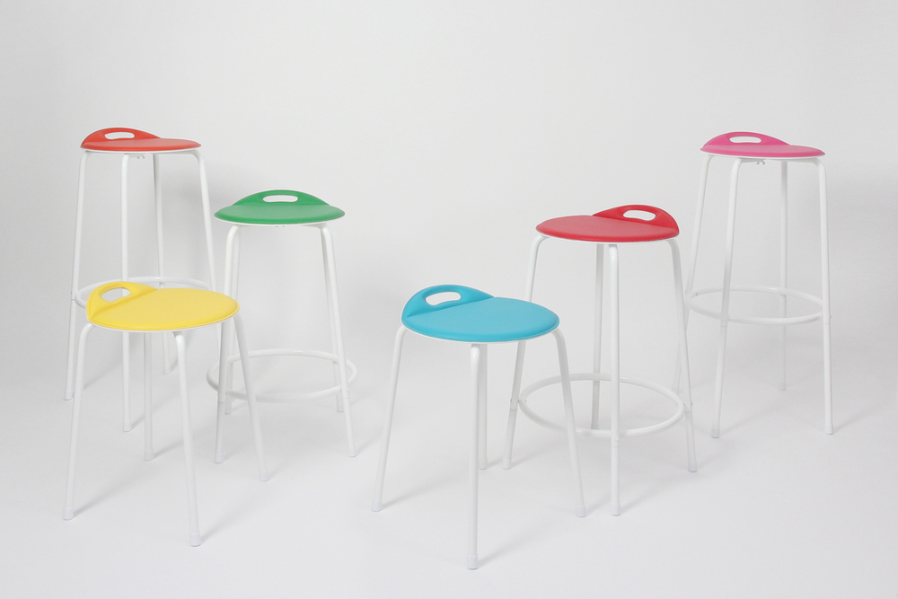 (Bent) DOT Stool; height (varies; shown with magnetic seat cover in various colors).