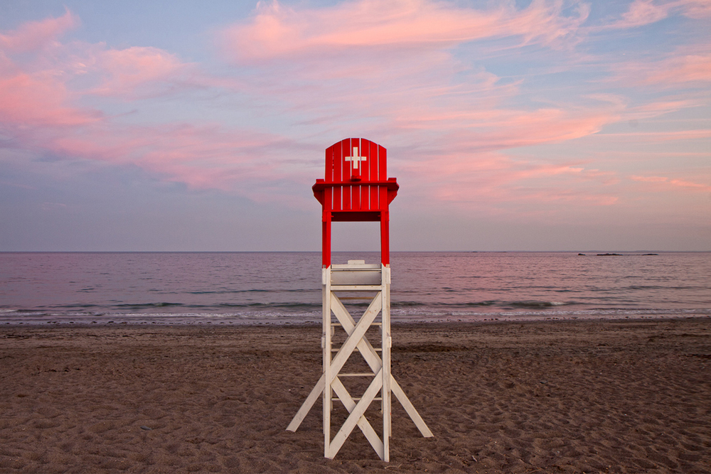 A typical lifeguard chair on the beach.