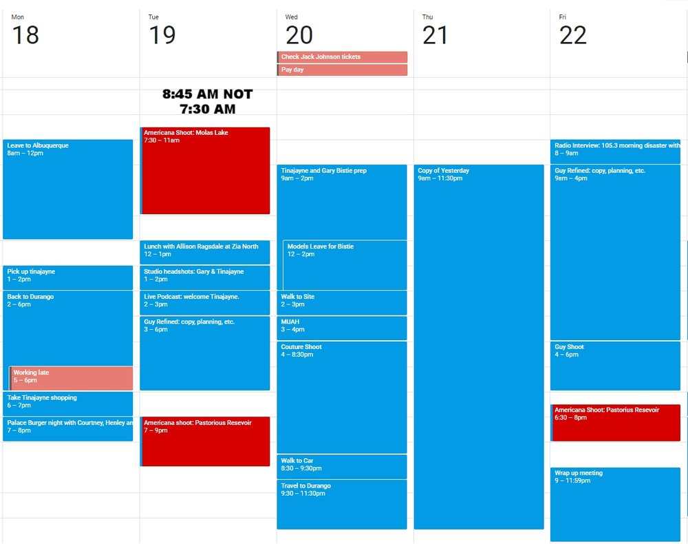 Here is a visual of the calendar!  Please note that Thursday is EXACTLY LIKE Wednesday.  The Couture days will be long.