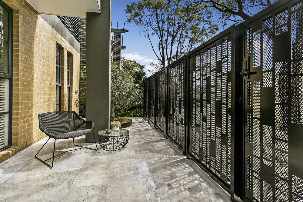 Feature screen used on the front entry way for both privacy and security