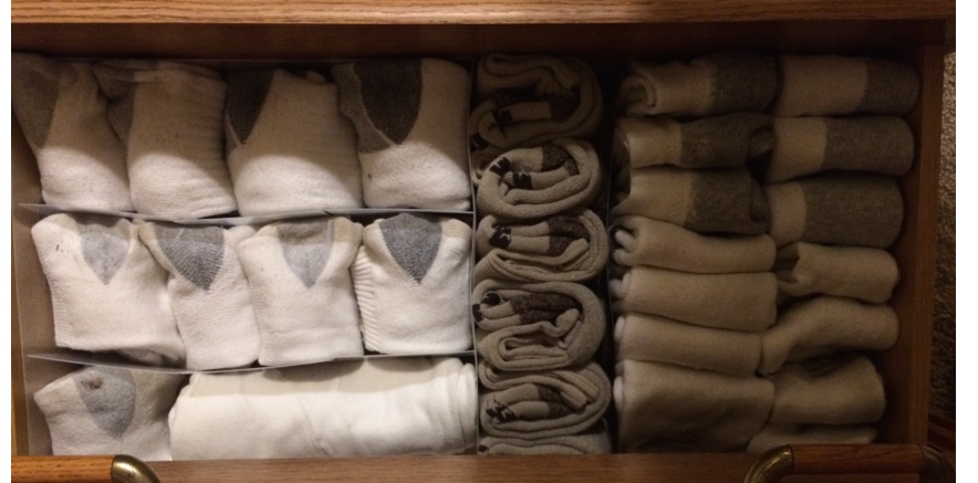 "I used Simple Solutions sock dividers for this drawer.  There are so many different brands and different kinds of dividers.  You could also easily just use something you already have at home.  You just want to use something to help divide your drawers.  It not only divides ""like"" things together, but it also helps to hold things in place"