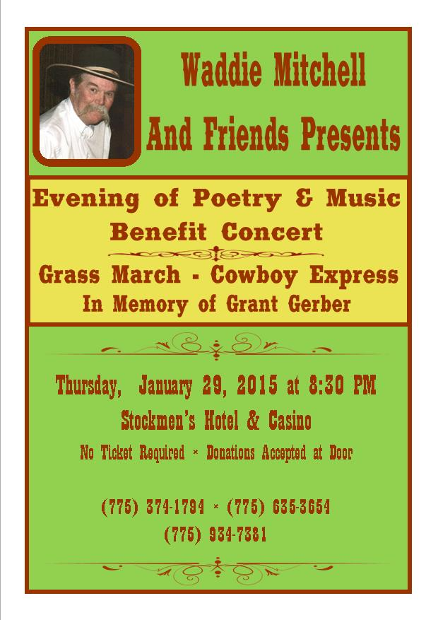 Please join us on Thursday, January 29th, 2015, 8:30pm at the Stockmen's Hotel in Elko, Nevada for a night of remembrance  and honor to Grant Gerber and his family. There will be an auction and donations taken at the door, monies raised will go to unpaid expenses for the ride. If you are unable to make the Event please donate online. Enjoy a night of entertainment! Look forward to seeing you all there.