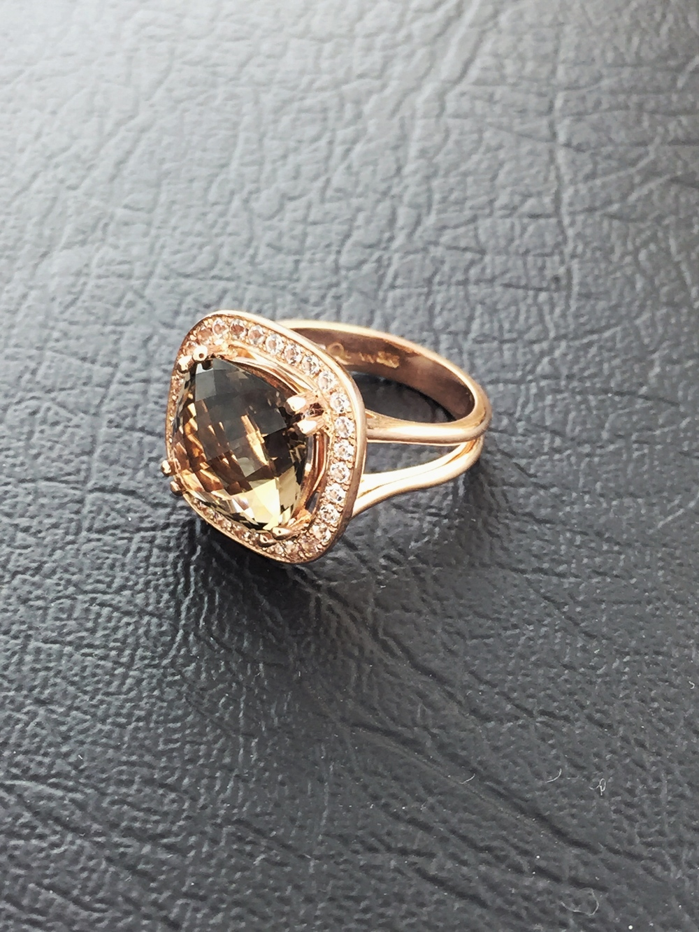 Rose gold and smokey Quartz ring $1,450
