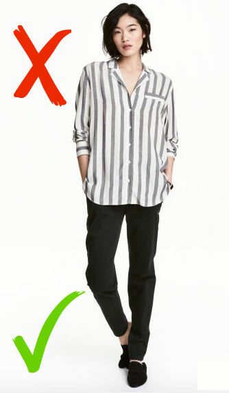 This shirt would be great it if it was plain but the stripes can be distracting for the service users. Full-length, loose trousers and a loose plain shirt are key!