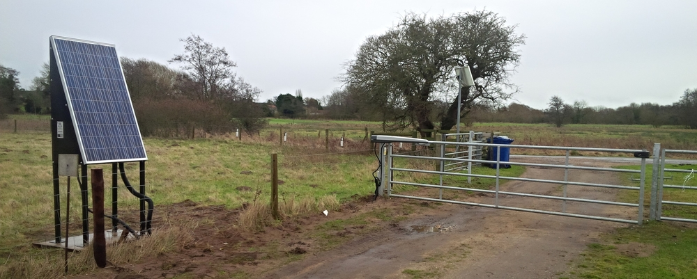 High capacity standalone solar system set on a country road near Mildenhall in Suffolk. Installed onto an existing gate.