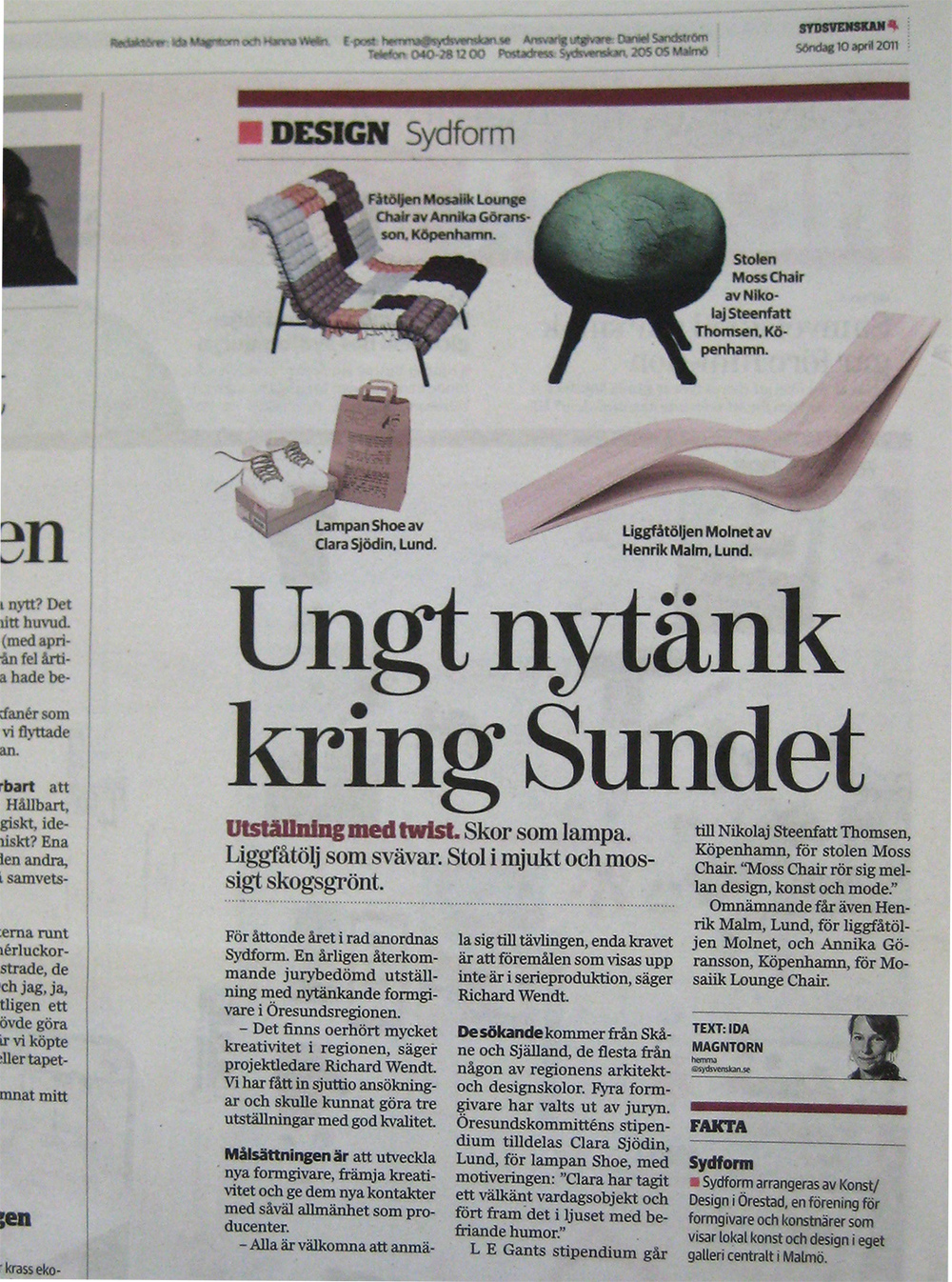 Article in Swedish newspaper Sydsvenskan.