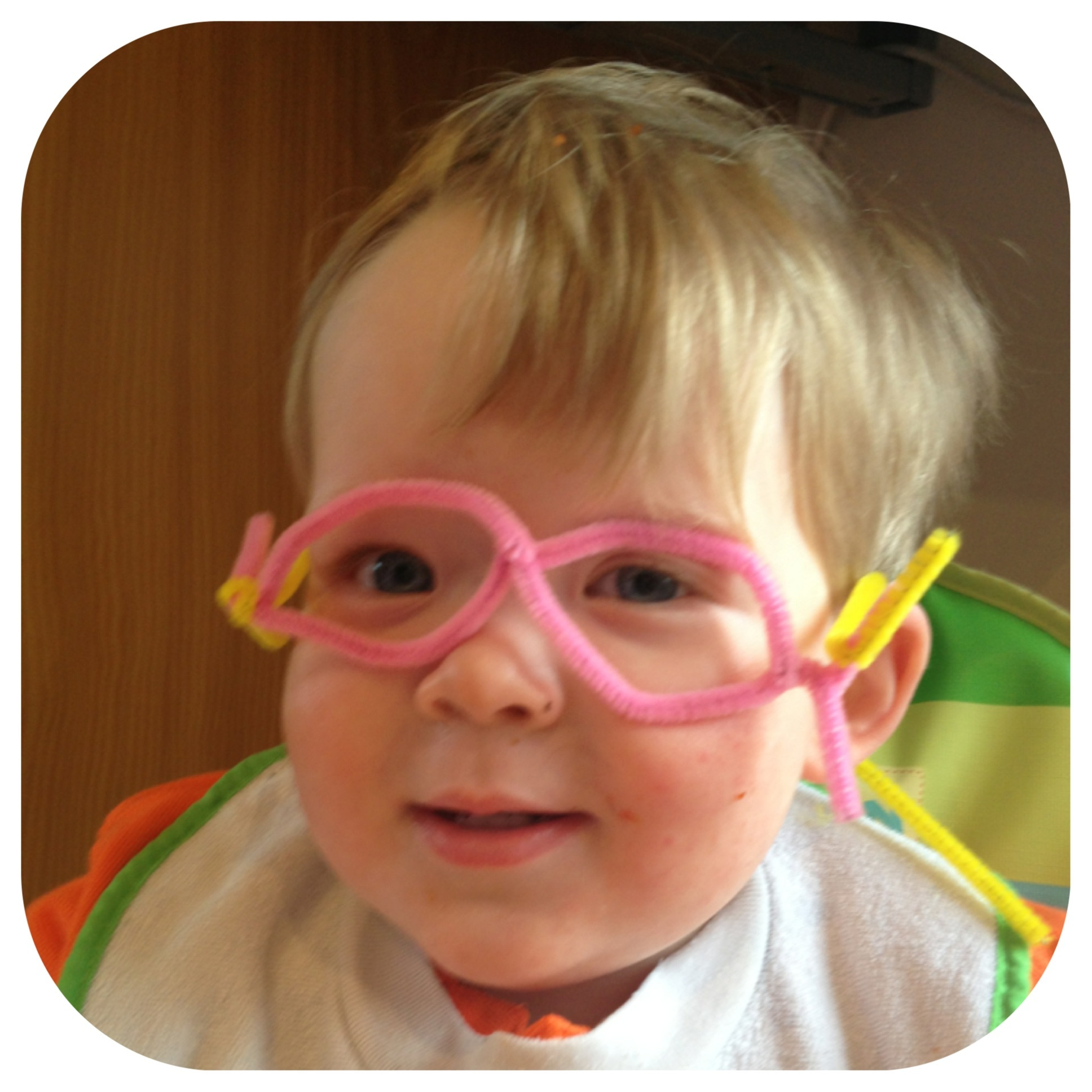 Oliver in pipe cleaner glasses