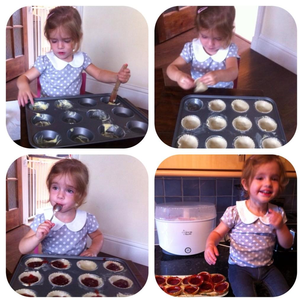 Ava making Jam tarts