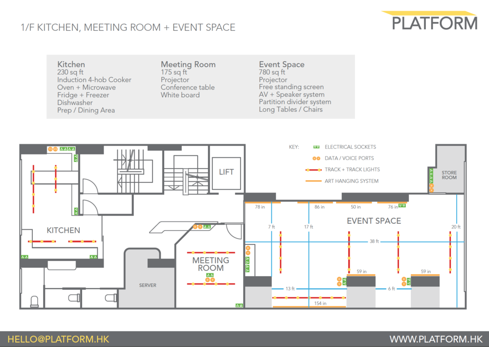 Layout of Sai Yun Pun Venue. Excellent for cooking demos, product launches and private dining.