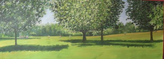 "'Prospect Park"" 36""x96"" acrylic on canvas"