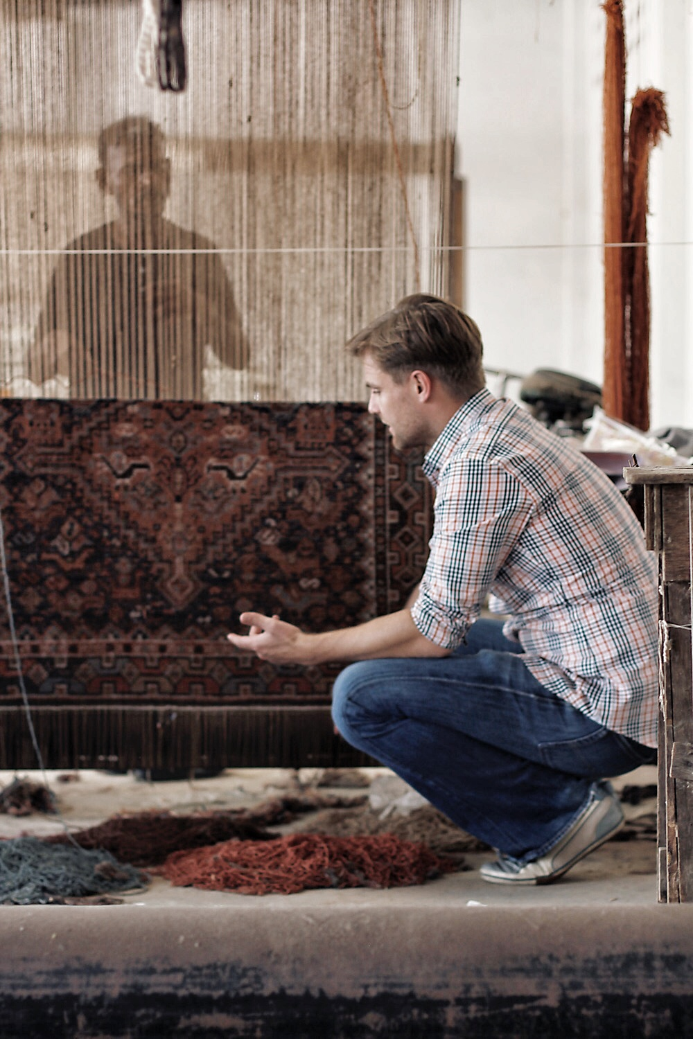 Alex Rees (Rugs of Petworth owner) in Bhadohi India.