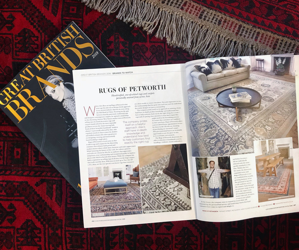 A GREAT BRITISH BRAND OF 2018 - We are proud to be a 'Brand to Watch' for 2018 in the latest issue of Great British Brands Magazine by Country & Townhouse Magazine. We are excited to share our story and the special work we do selecting each and every one of our handcrafted rugs and carpets for you.