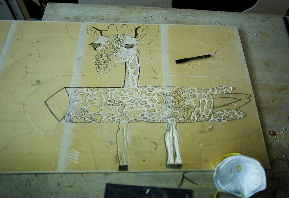 Josie's Rocket Giraffe in progress. This piece began with Josie claiming that she could NOT draw! It became an incredible two layer print, posted below.