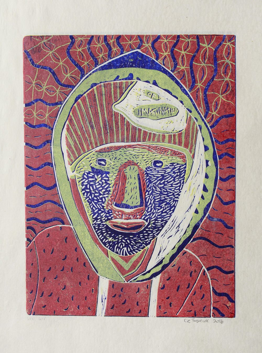 Uvanga: Self-Portrait   Cie Taqiasuk  Three-Layer Linocut on Washi  15.5 x 21.5""