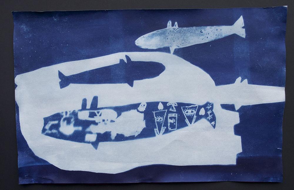 "Untitled (Iqaluk)   Ezeevalu Samayualie  Cyanotype print  12 x 18"""