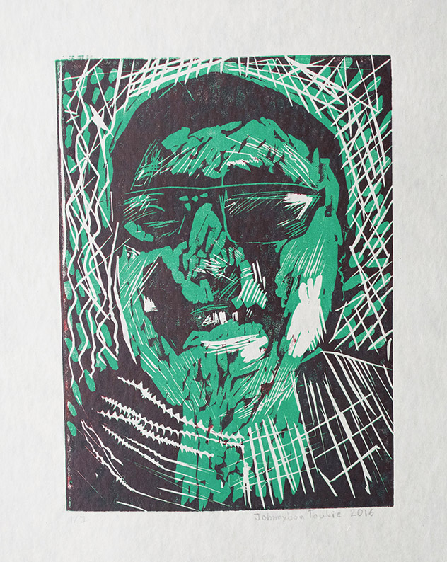 Uvanga: Self-Portrait   Johnnybou Taukie  Two-Layer Linocut on Washi  15.5 x 21.5""