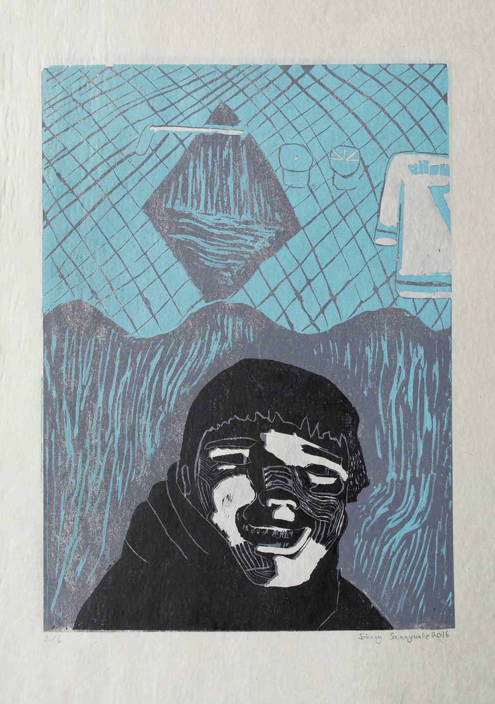 Uvanga: Self-Portrait   Johnny Samayualie  Two-Layer Linocut on Washi  15.5 x 21.5""