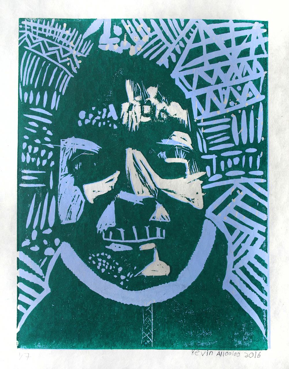 Uvanga: Self-Portrait   Kevin Allooloo  Two-Layer Linocut on Washi  15.5 x 21.5""