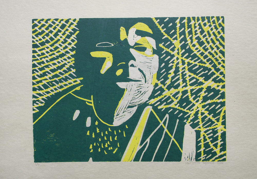 Uvanga: Self-Portrait   Maryanne Taqiasuk  Two-Layer Linocut on Washi  15.5 x 21.5""