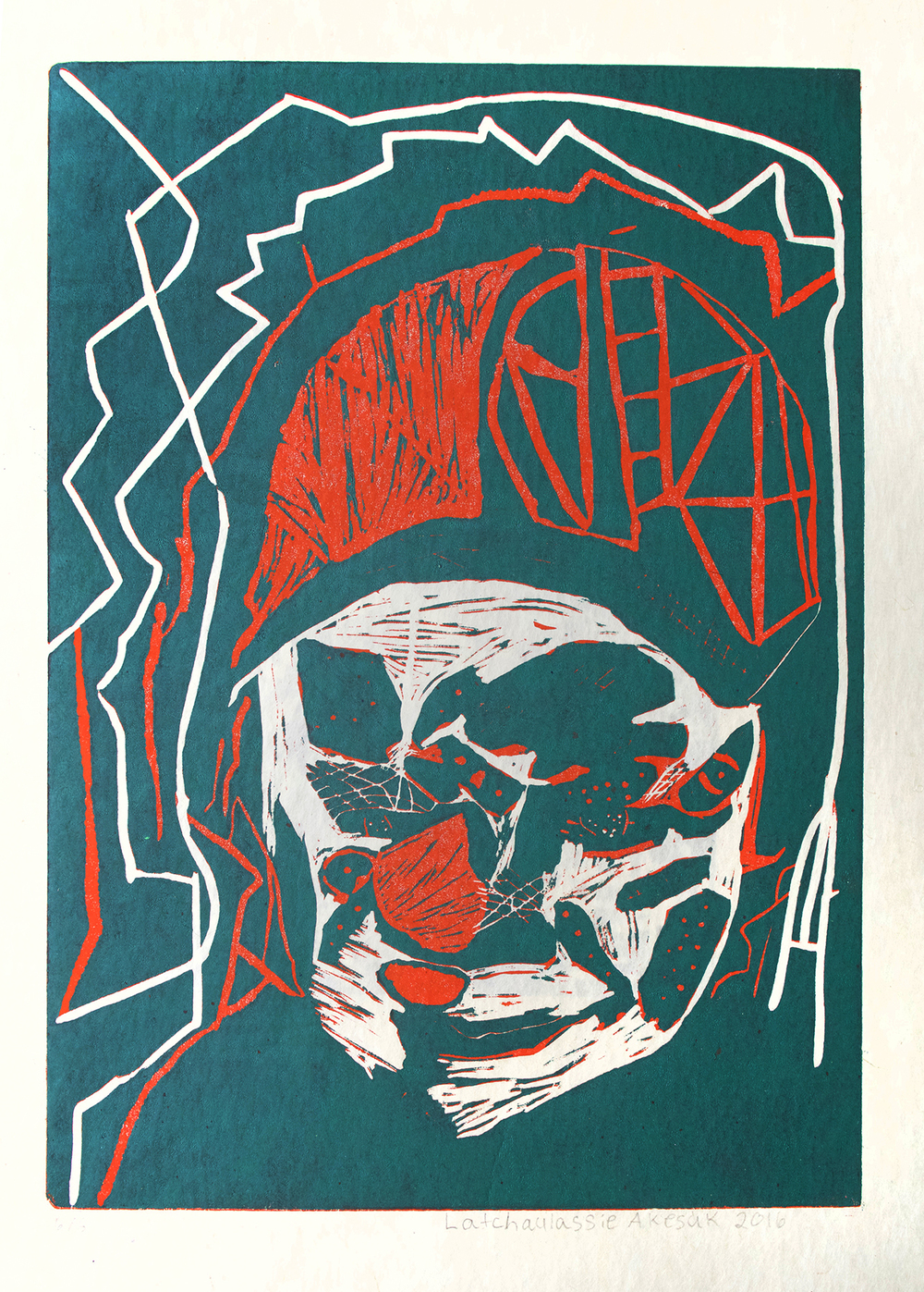 Uvanga: Self-Portrait   Latch Akesuk  Two-Layer Linocut on Washi  15.5 x 21.5""