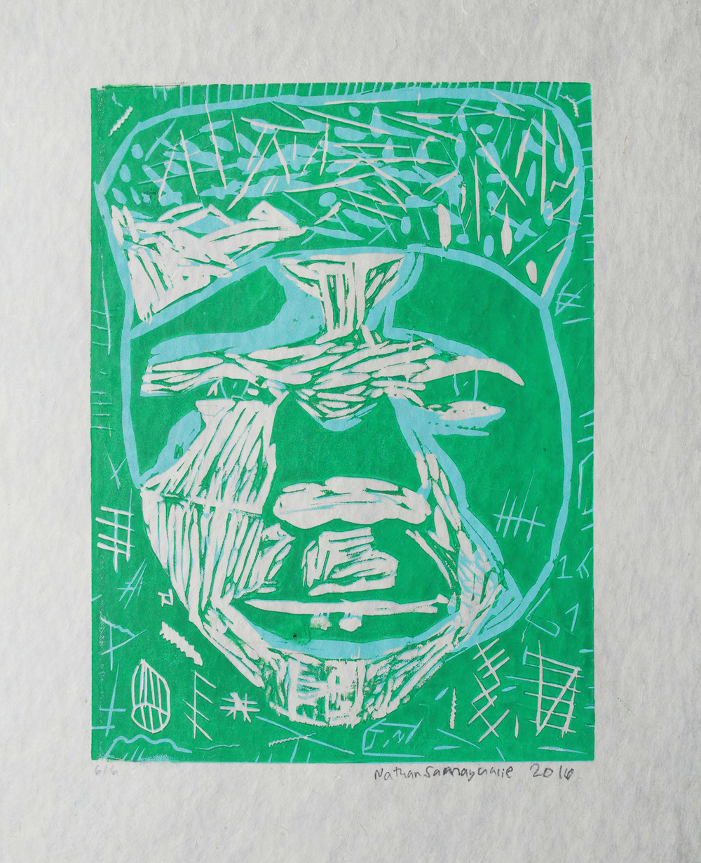 Uvanga: Self-Portrait   Nathan Samayualie  Two-Layer Linocut on Washi  15.5 x 21.5""