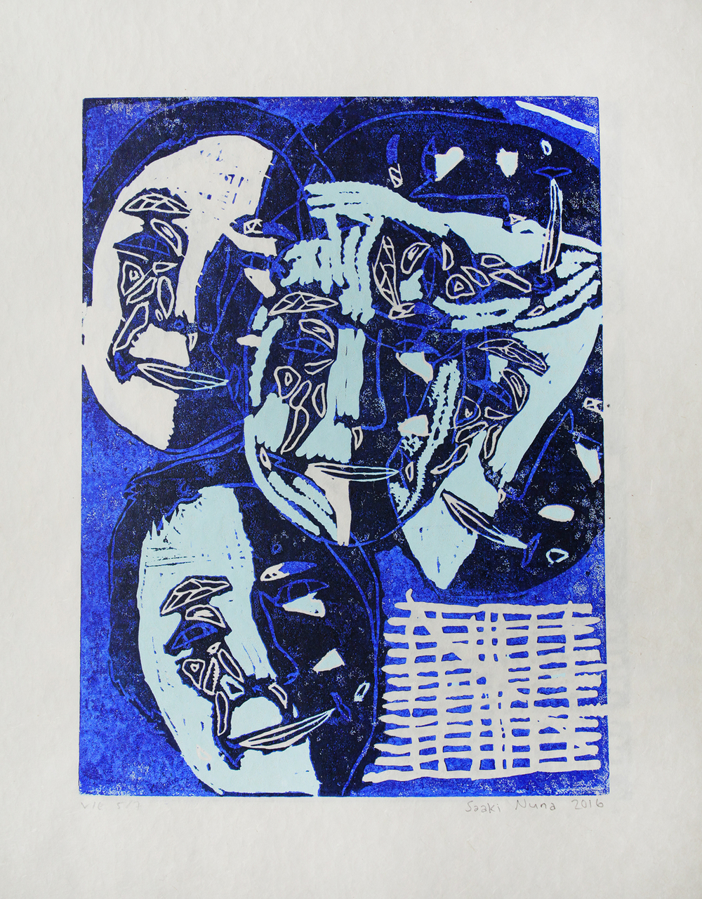 Uvanga: Self-Portrait   Saaki Nuna  Three-Layer Linocut on Washi  15.5 x 21.5""