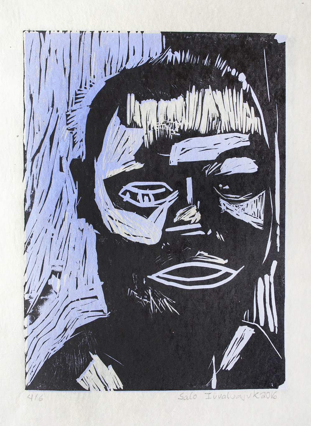Uvanga: Self-Portrait   Salomonie Ivaluajuk  Two-Layer Linocut on Washi  15.5 x 21.5""