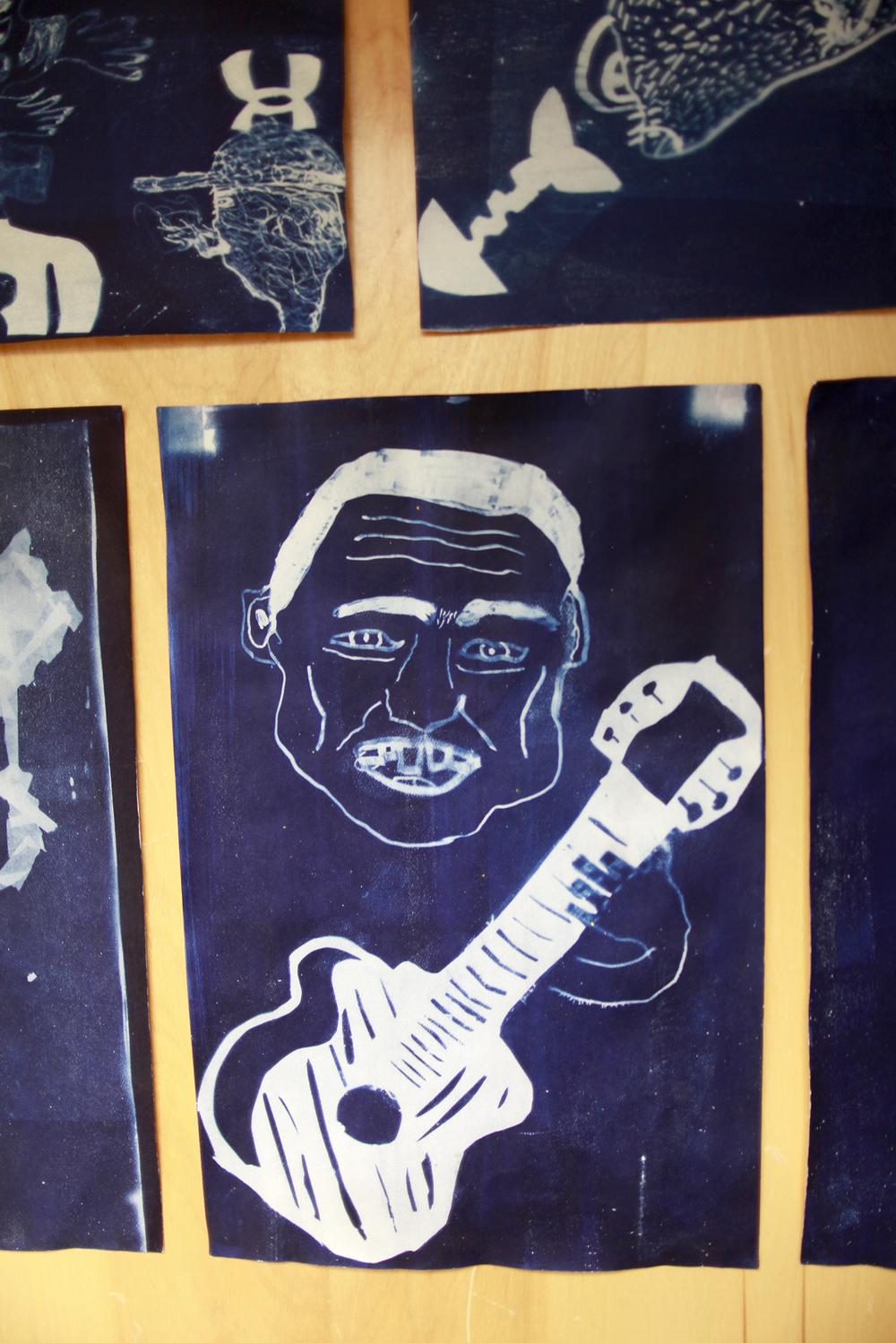 """Untitled (Guitar)   Tommy Quvianaqtuliaq & Daniel Qiatsuk  Cyanotype print  12 x 18"""""""