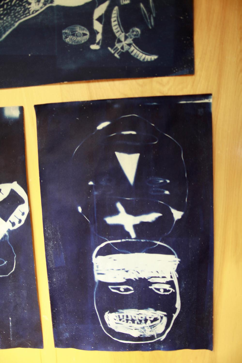 "Untitled (Face)   Oqittuq Shaa  Cyanotype print  12 x 18"""
