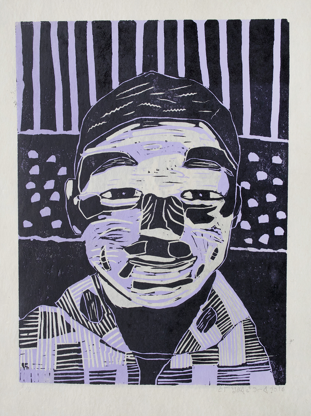 Uvanga: Self-Portrait   Tommy Quvianaqtuliaq  Two-Layer Linocut Print on Washi  15.5 x 21.5""