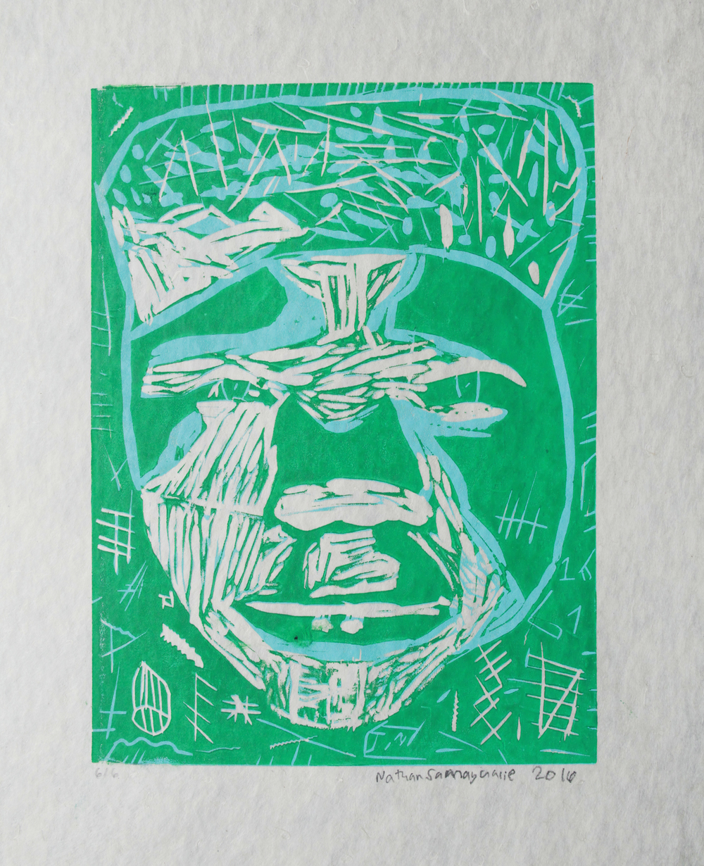Uvanga: Self-Portrait   Nathan Samayualie  Two-Layer Linocut Print on Washi  15.5 x 21.5""