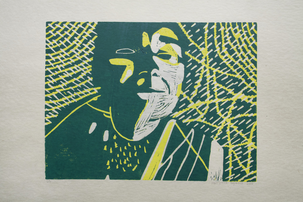 Uvanga: Self-Portrait   Maryanne Taqiasuk  Two-Layer Linocut Print on Washi  15.5 x 21.5""
