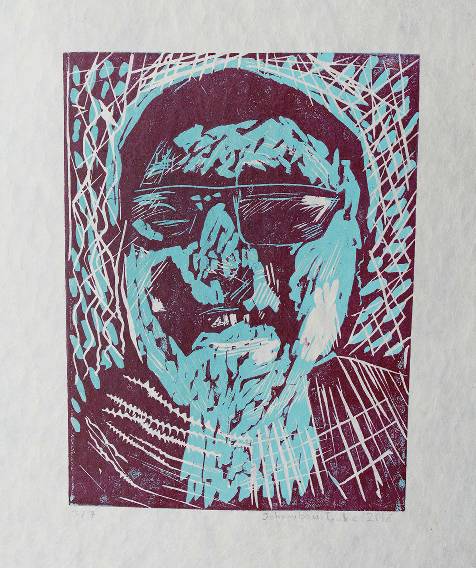 Uvanga: Self-Portrait   Johnnybou Taukie  Two-Layer Linocut Print on Washi  15.5 x 21.5""