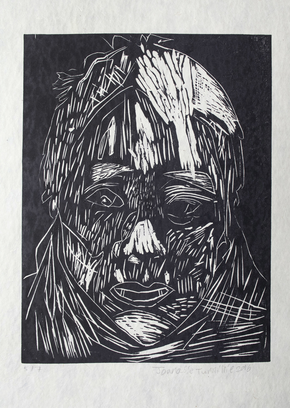 Uvanga: Self-Portrait   Joanasie Tunnillie  One-Layer Linocut Print on Washi  15.5 x 21.5""