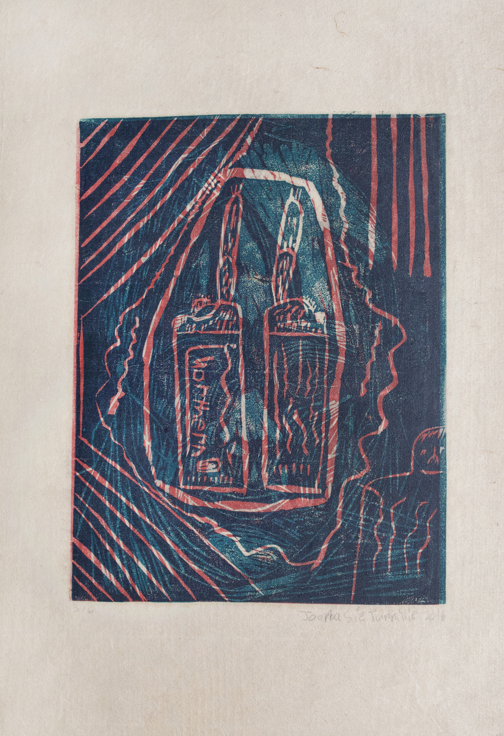 Lighters   Joanasie Tunnillie  Two-Layer Linocut Print on Washi  15.5 x 21.5""