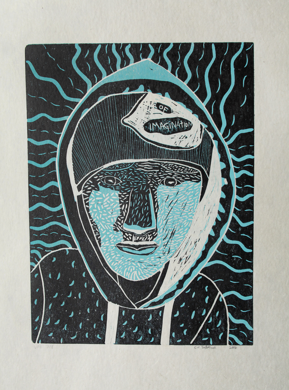 Uvanga: Self-Portrait   Cie Taqiasuk  Two-Layer Linocut Print on Washi  15.5 x 21.5""