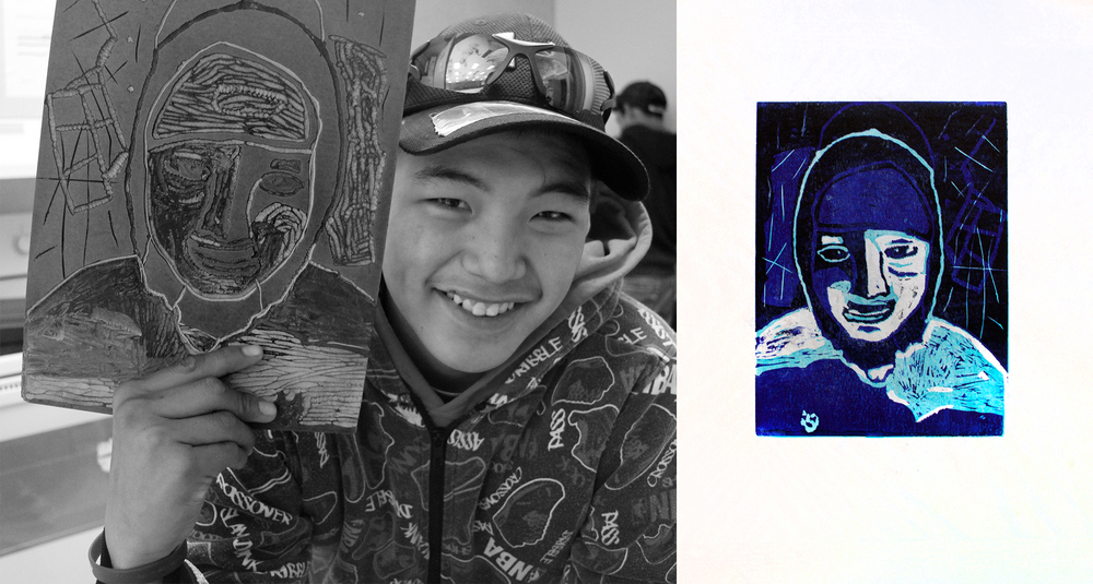 Harry Josephie won third prize across Canada for the Aboriginal Arts and Stories Contest for his three-layer linocut self-portrait!