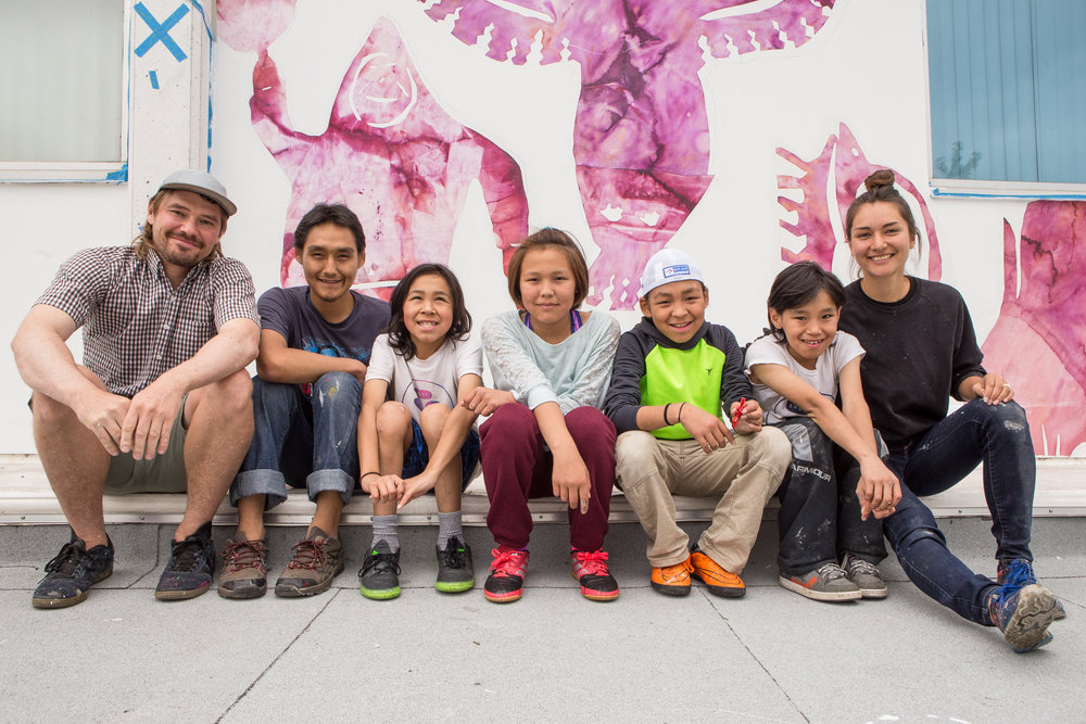 Photo by Saajid Motala. Left to right: Patrick Thompson, Cie Taqiasuk, David Pudlat, Christine Adamie, Iqaluk Quvianaqtuliaq, Moe Kelly, Alexa Hatanaka.