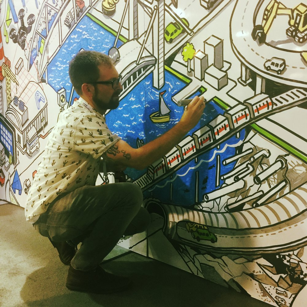 nigel sussman, the artist behind the graffiti wall. follow his work on instagram at @nigelsussman