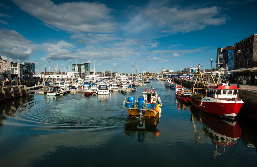 Fishing boats in Sutton Harbour.