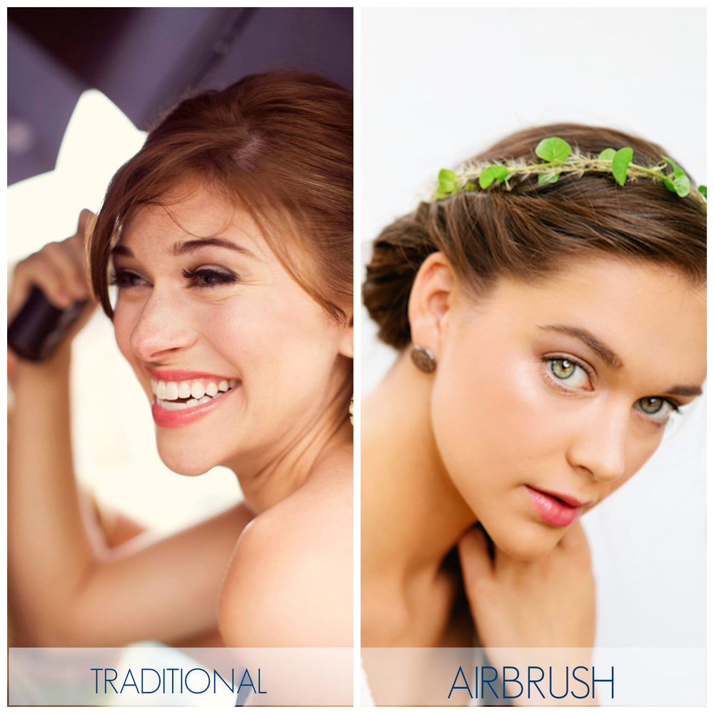 Example 1: Shows the difference between traditional bridal makeup and airbrush bridal makeup after 3 hours of wear. Both achieving a natural finish.
