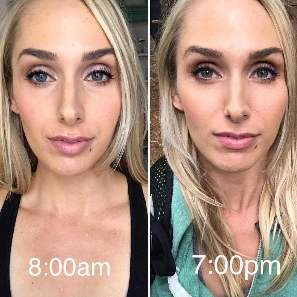 Airbrush makeup before and after displays the length of wear and the staying power of airbrush