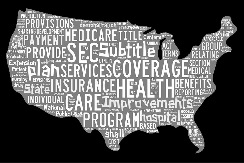 This word cloud shows the words that most often appear in the entire text of the Affordable Care Act. (Created with Tagxedo)