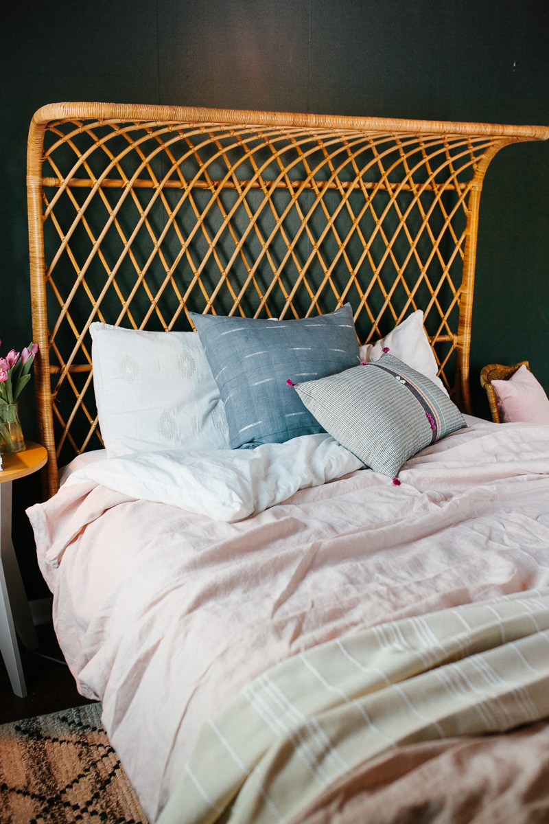 Pillows from  Golden and Pine , Bed from  Anthropologie