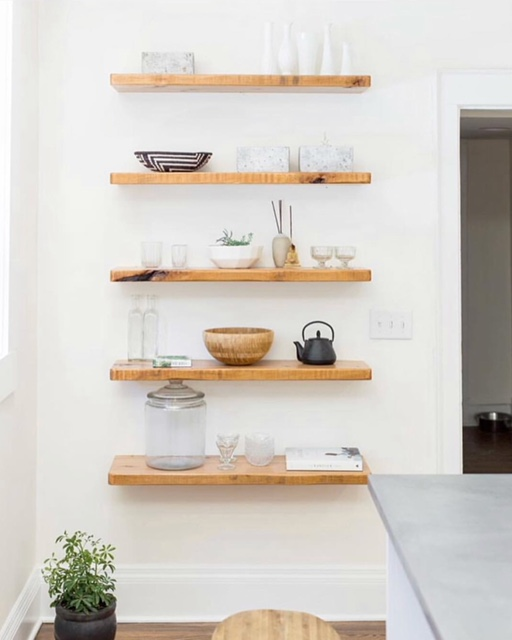 This was an empty wall in a project that was screaming for simple and easy open shelves!